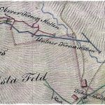 Výrez z historickej banskej mapy z r. 1833 – blízke okolie bane Kreuz.