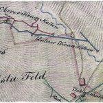 Výrez z historickej banskej mapy z r. 1806 – blízke okolie baní Kreuz