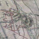Výrez okolia šachty Althandel z historickej mapy banského polohopisu spolu s vertikálnym rezom s hlbinnými obzormi pod úrovňou dedičnej štôlne Graner (rok 1833).