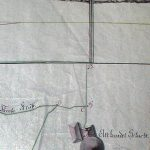 A historic drawing of the Althandel Shaft from the last third of the 18th century with a horse stamp mill ('gápeľ'), engine house, mining pit and levels of the Baptista and Graner adits plotted on the mine topography and in the vertical profile.