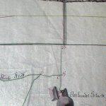 Historický nákres šachty Althandel z poslednej tretiny 18. storočia s vyznačením gápľa, budovy strojovne, ťažobnej jamy, obzorov štôlní Baptista a Graner v banskom polohopise a vo vertikálnom reze.