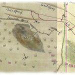 Výrez z historickej mapy z r. 1750 so zakreslenou povrchovou dobývkou Šturc