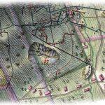 Výrez z historickej mapy Sgärgetha z r. 1800 so zakreslenou povrchovou dobývkou Šturc