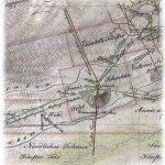Časť historickej mapy z roku 1833 - banská fotografia mapy v areáli šachty František