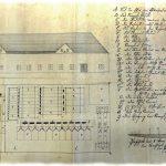 Projekt na stavbu úpravne rudy z roku 1837 s legendou technických zariadení