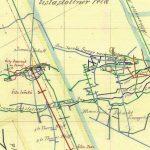 Výrez z historickej mapy z r. 1880 so zakresleným plánovaným polohopisom a vertikálnym rezom obnovenia šachty Jozef v 30. rokoch 20. storočia