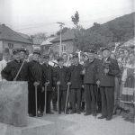 Nová Baňa miners and members of the Vojšín folk ensemble assembled at the mouth of the Jozef Shaft in 1972