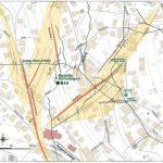 Mapa baní v okolí Námestia slobody a farského kostola v podrobnej mierke (1:2 000)